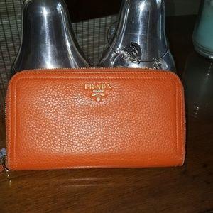 Authentic prada wallet orange beautiful color
